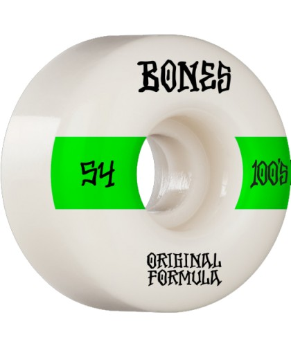 BONES WHEELS 'OG FORMULA' SKATEBOARD WHEELS WHITE/GREEN 52MM