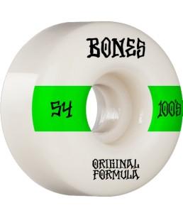 BONES WHEELS 'OG FORMULA' SKATEBOARD WHEELS WHITE/GREEN 54MM