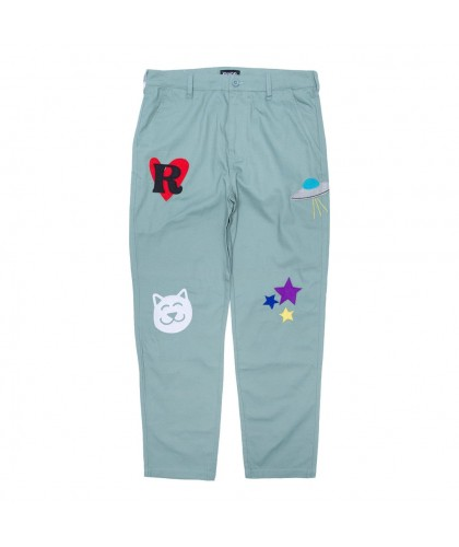 RIPNDIP 'PLAY DATE COTTON TWILL EMBROIDERED ART ' PANTS
